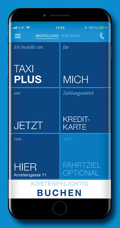 A cellphone showing the Homescreen of the TaxiPluss App lies on a blue surface.