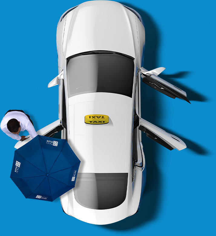 Aerial View of a TaxiPlus. The passenger door and both backseat doors are open. A TaxiPlus driver holds an umbrella over the entrance.