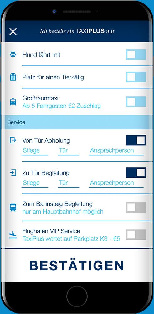 Die Tür-zu-Tür Features sind in der Feature Auswahl der TaxiPlus App markiert.